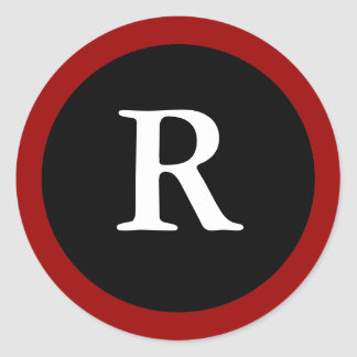 R   Initial R Letter R Red  White   Black Sticker. Stylish Letter R Monogram Gifts on Zazzle