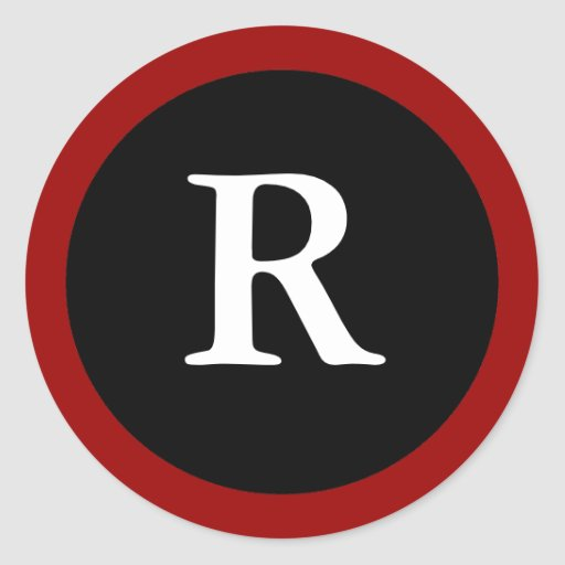 R : Initial R Letter R  Red, White & Black Sticker