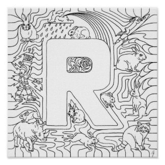 R Is For Rabbits Color In Letter Poster