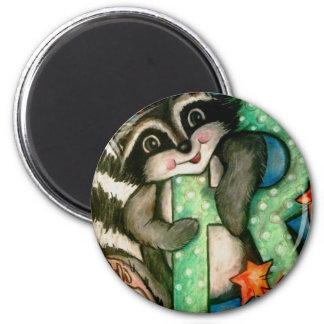 R is for Raccoon 2 Inch Round Magnet