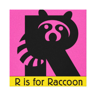 R Is For Raccoon Raccoon Wrapped Canvas...