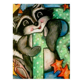 R is for Raccoon Postcard