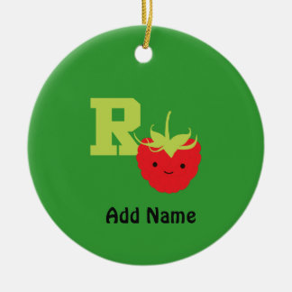 R is for Raspberry Ceramic Ornament