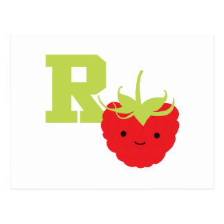 R is for Raspberry Postcard