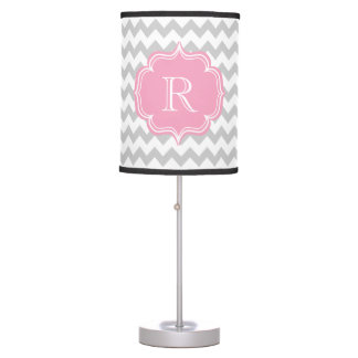 R is for Riley, Ruth or Rachel Pink Gray Monogram Table Lamp