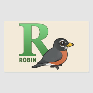 R is for Robin Rectangle Stickers