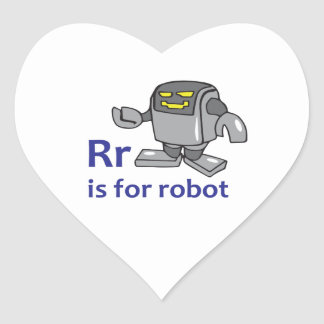 R IS FOR ROBOT HEART STICKER
