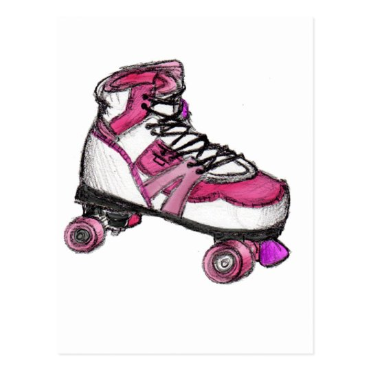 R is for Rollerskate Postcard