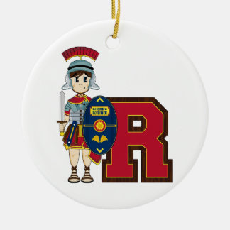 R is for Roman Soldier Double-Sided Ceramic Round Christmas Ornament