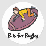 R is for Rugby Classic Round Sticker