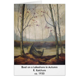 R.J. Ketchum - Boat on a Lakeshore in Autumn Card