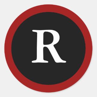 R Letra inicial pegatina rojo blanco y negro de