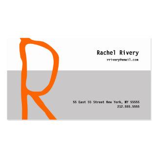R Letter Alphabet Business Card Orange Grey
