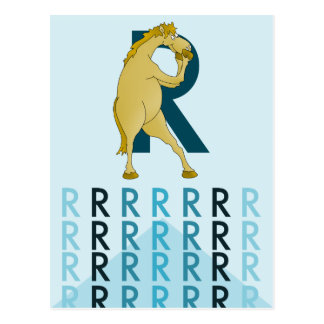 R Letter  Light card Flexible pony bunting. Postcard