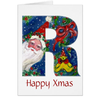 R LETTER / SANTA CLAUS WITH RED RIBBON MONOGRAM GREETING CARD
