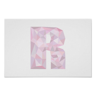 R - Low Poly Triangles - Neutral Pink Purple Gray Poster