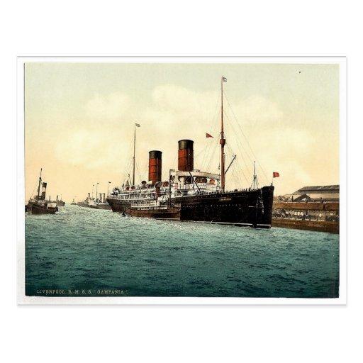 "R.M.S. ""Campania"" en el Mersey Photochrom raro Postal"