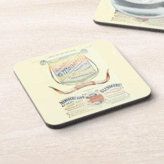 R. Monarch historic 1893 whisky label coaster set