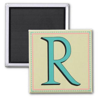 R MONOGRAM 2 INCH SQUARE MAGNET