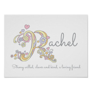 R monogram art Rachel girls name & meaning poster