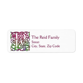 """R Monogram """"Besque Garden"""" design Address Labels"""