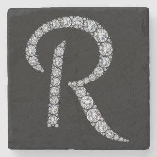 R monogram bling coaster