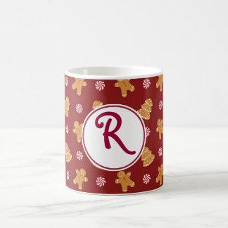 R Monogram Christmas Gingerbread Cookie Mug