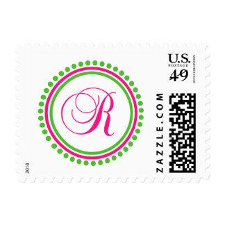 R Monogram (Hot Pink / Lime Green Dot Circle) Stamps