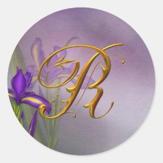 R monogram Iris Dream Round Sticker