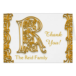"R Monogram ""Irish Gold"" with Name Thank You Card"