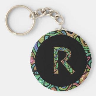 R Monogram Basic Round Button Keychain