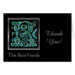 """R Monogram """"Masselle Blue"""" and Name Thank You Card"""