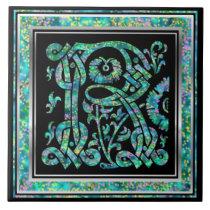 "R Monogram ""Masselle Blue"" Ceramic Tiles"