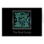 """R Monogram """"Masselle Blue"""" with Name Greeting Card"""