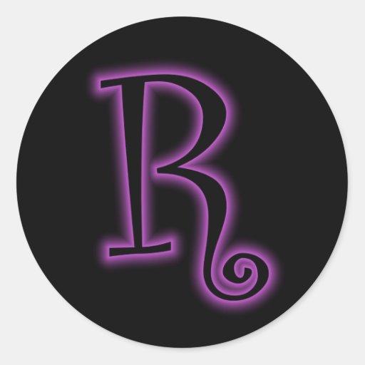 R Monogram Purple Neon Classic Round Sticker