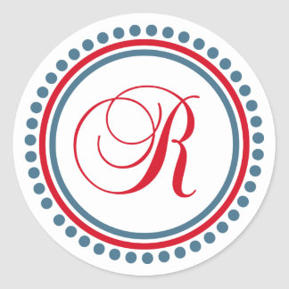 R Monogram (Red / Blue Dot Circle) Classic Round Sticker