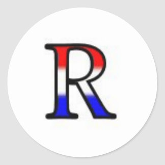 R Monogram Classic Round Sticker