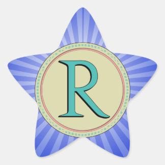 R MONOGRAM STAR STICKER