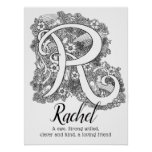 R monogram tangle art Rachel name meaning Poster