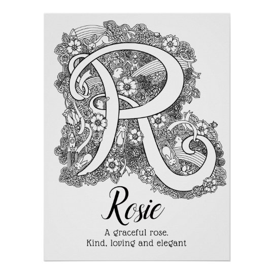 R monogram tangle art Rosie name meaning Poster | Zazzle.com