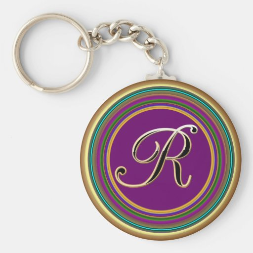 R monogramme mascarade From Party Time Creatives Basic Round Button Keychain