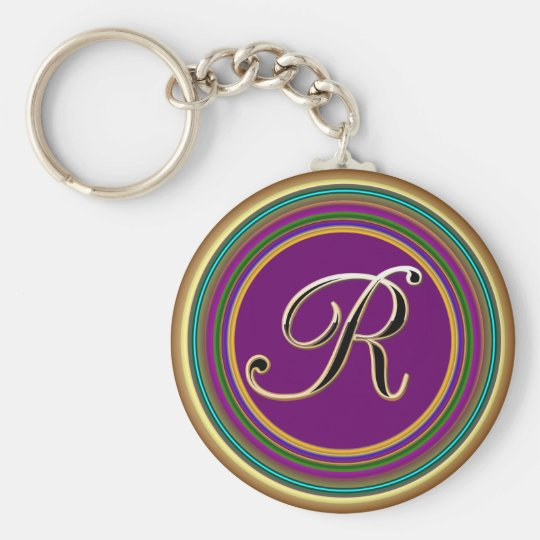 R monogramme mascarade From Party Time Creatives Keychain