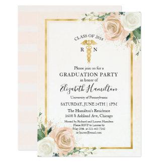 R N Medical Nursing School Graduation Party Floral Card