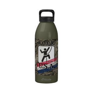 R.O.C.K. en los E.E.U.U. - botella de agua del esc