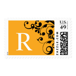 R Orange Color Theme Monogram Wedding Postage