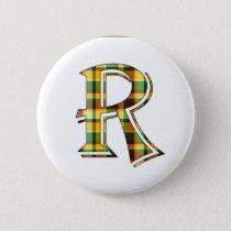R plaid initial button