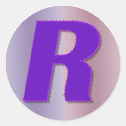 R purple monogram round stickers