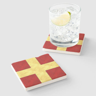 R Romeo Watercolor Nautical Signal Maritime Flag Stone Coaster