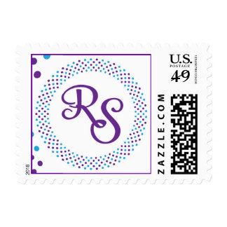 R S monogram with purple and turquoise dots Postage