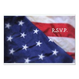 """R.S.V.P. Bandera Tarjeta-Americana Invitación 3.5"""" X 5"""""""